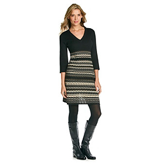 Evan-Picone® Ribbed V-Neck Sweater Dress