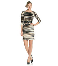 AGB® Striped Belted Ponte Dress
