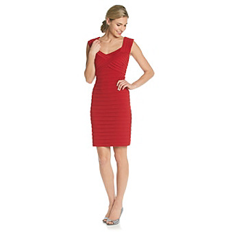 London Times® Sweetheart Neckline Shutter Dress