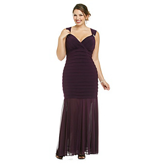 R & M Richards® Plus Size Mesh Flounce Shutter Dress