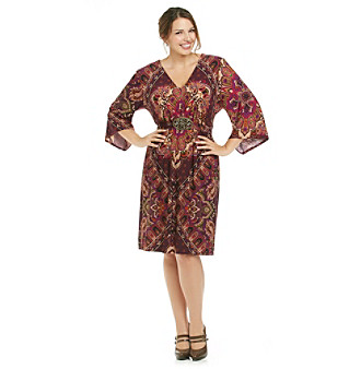 R & M Richards® Plus Size Print Tie Back Dress