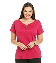 Rafaella Plus Size Scoop Neck Metal Center Ring Short Sleeve 1X1 Knit