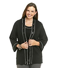 Rafaella Plus Size Long Sleeve Cardigan 1X1 Rib