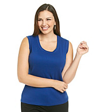 Rafaella Plus Size Knit Sleeveless Tank
