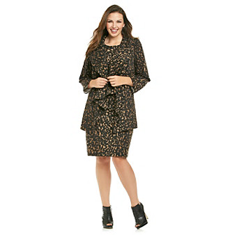 Calvin Klein Plus Size Ruffle Front Animal Print Jacket