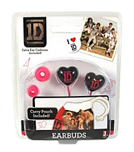 One Direction Black/Pink Heart Earbuds with Carry Pouch