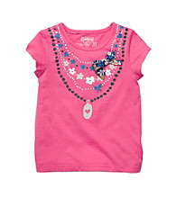 OshKosh B'Gosh® Girls' 2T-4T Pink Short Sleeve Necklace Tee