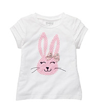 OshKosh B'Gosh® Girls' 2T-4T White Short Sleeve Bunny Tee