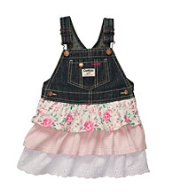OshKosh B'Gosh® Girls' 2T-4T Denim Jumper with Floral Tiers