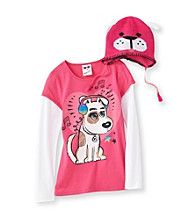 Belle du Jour Girls' 7-16 Pink Long Sleeve Dog Skater Tee with Hat