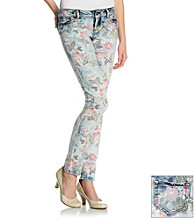 Blue Spice® Juniors' Rose Print Skinny Jeans