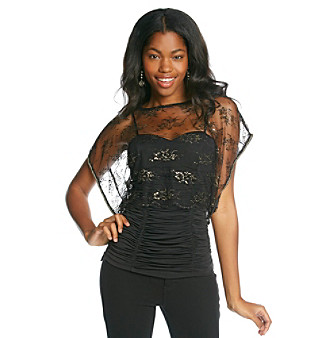 XOXO ®Juniors' Lace Overlay Top