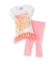 Beatuees Girls' 4-6X White/Pink Heart Leggings Set