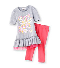 Beautees Girls' 4-6X Heather Grey/Pink Floral Leggings Set