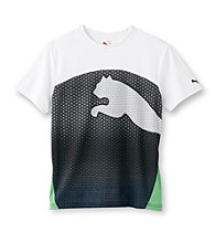 PUMA® Boys' 8-20 Black/Green Short Sleeve Cat Tee