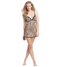 Linea Donatella® Tan/Black Leopard Babydoll Set