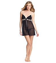 Linea Donatella® Black Pleated Cup Chiffon Babydoll Set