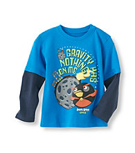 Angry Birds™ Boys' 4-7 Blue Long Sleeve In Space Gravity Tee