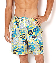 Nautica® Men's Sunfish Yellow Coral Print Swim Shorts