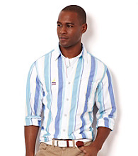 Nautica® Men's French Blue Stripe Long Sleeve Woven