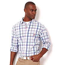 Nautica® Men's Bait Cast Blue Plaid Long Sleeve Woven