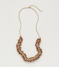 BT-Jeweled Bronzetone/Goldtone Cluster Necklace