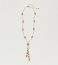 BT-Jeweled Bronzetone/Goldtone Y Neck Strand Necklace