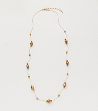 BT-Jeweled Bronzetone Tin Cup Strand Necklace