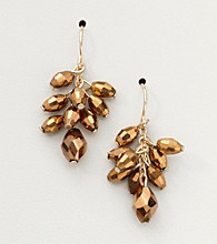 BT-Jeweled Bronzetone/Goldtone Cluster Earrings