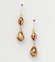 BT-Jeweled Bronzetone/Goldtone Two Bead Drop Earrings