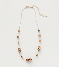 BT-Jeweled Bronzetone Strand Tin Cup Necklace