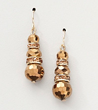 BT-Jeweled Bronzetone Drop Earrings