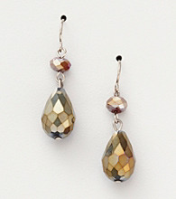 BT-Jeweled Metallic Ab/Silvertone Two Bead Drop Earrings