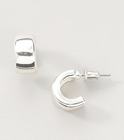 Studio Works® Small Silvertone Chubby Hoop Earrings
