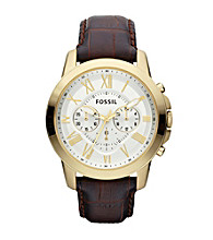 Fossil® Grant Goldtone Chronograph Brown Embossed Croc Leather Strap Men's Dress Watch