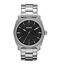 Fossil® Machine Stainless Steel with Black Dial Men's Dress Watch