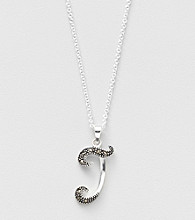 Marsala Boxed Genuine Marcasite Initial Pendant Necklace