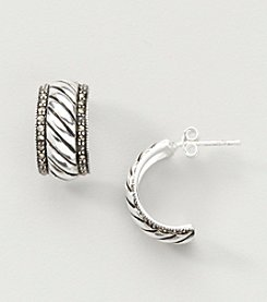 Marsala Boxed Genuine Marcasite Hoop Earrings