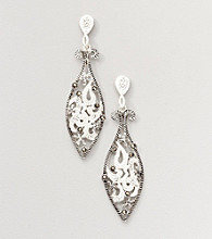 Marsala Boxed Genuine Marcasite and Crystal Marquis Drop Earrings
