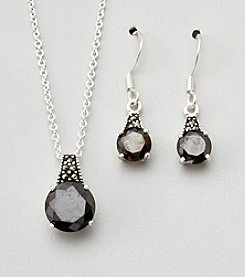 Marsala Boxed Genuine Marcasite and Cubic Zirconia Necklace and Earring Set