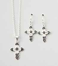 Marsala Boxed Genuine Marcasite and Crystal Cross Necklace and Earring Set