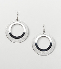 Erica Lyons® Silver Reflections Drop Donut Pierced Earrings
