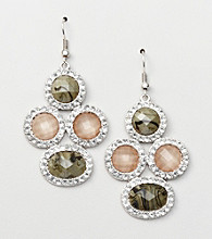Erica Lyons® Grey Smoke and Mirrors Cluster Drop Pierced Earrings