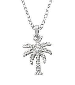 Rhodium Plated Bronze Cubic Zirconia Palm Tree Pendant