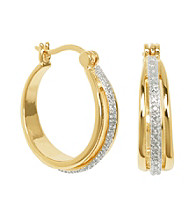 18K Diamond Accent Hoop Earring