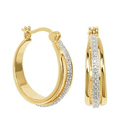 Designs by FMC 18K Gold Plated Diamond Accent Hoop Earrings