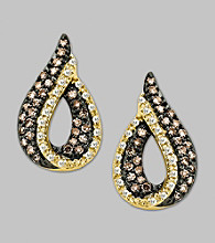 Brown and White Diamond Earrings