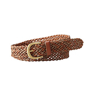 Fossil® Chestnut Metallic Woven Belt