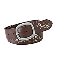 Fossil® Brown Floral Stud And Vine Belt