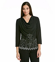 MSK Drapeneck Caviar Beaded Top